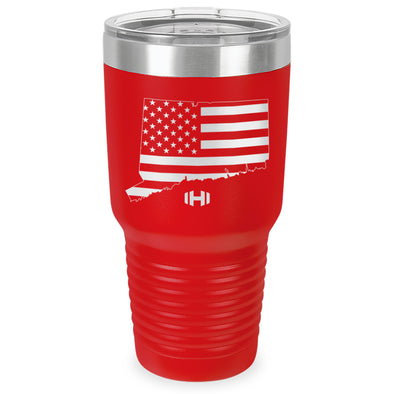 Connecticut USA Flag Laser Etched Tumbler