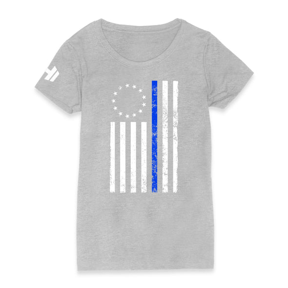 Betsy Ross Distressed Thin Blue Line Womens Apparel