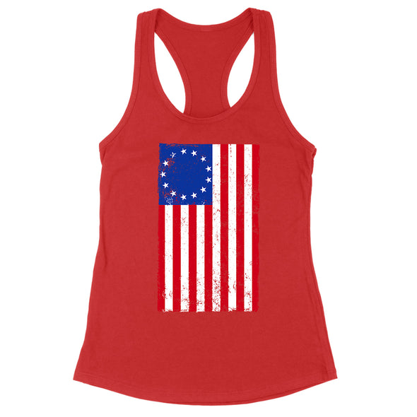 Betsy Ross Distressed Flag Womens Apparel
