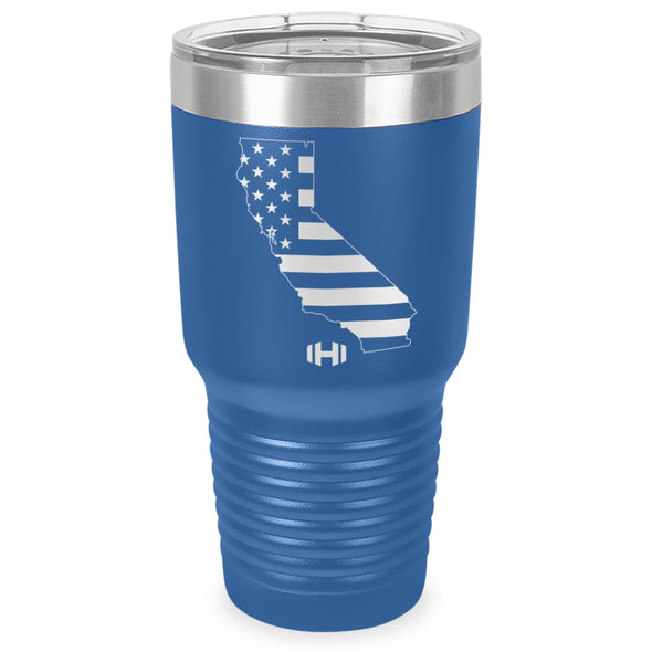 California USA Flag Laser Etched Tumbler