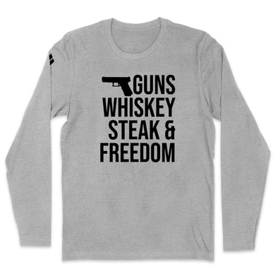 Guns Whiskey Steak And Freedom Black Print Mens Apparel