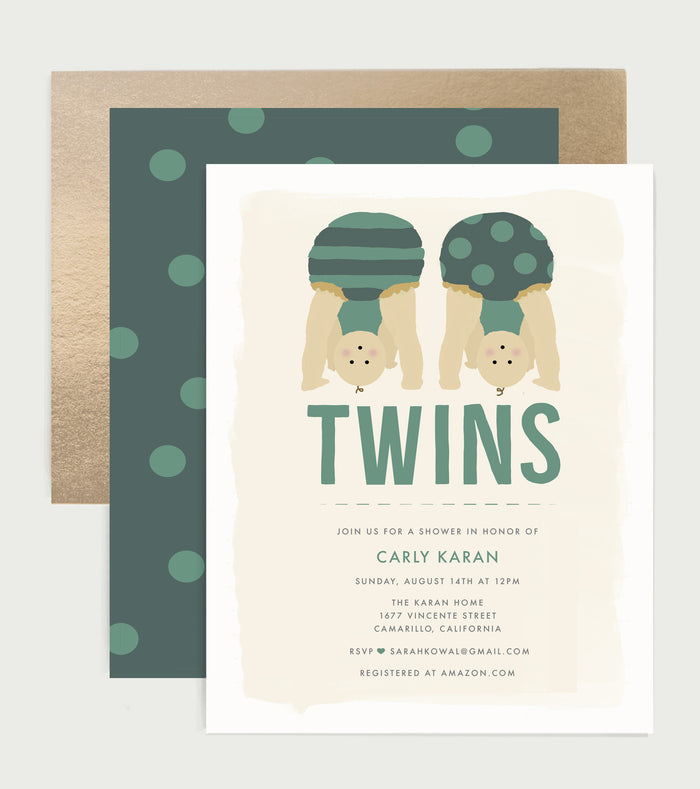 Peek-A-Boo Twins Baby Boy Shower Invitation