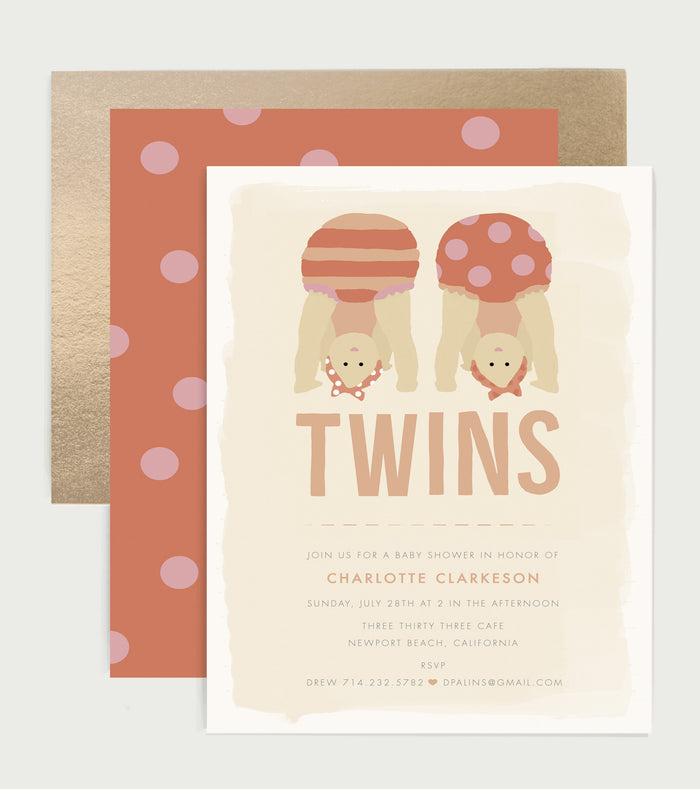 Peek-A-Boo Twins Baby Shower Invitation