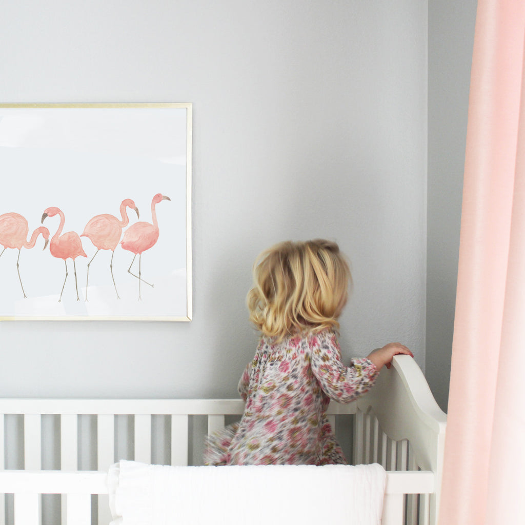 Line of Flamingos Art Print
