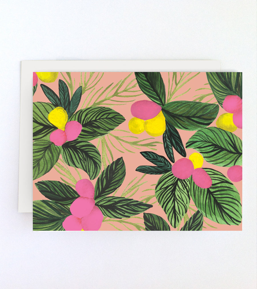 Tropical Flowers Blank Card
