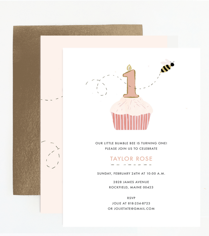 Bumble Bee First Birthday Invitation