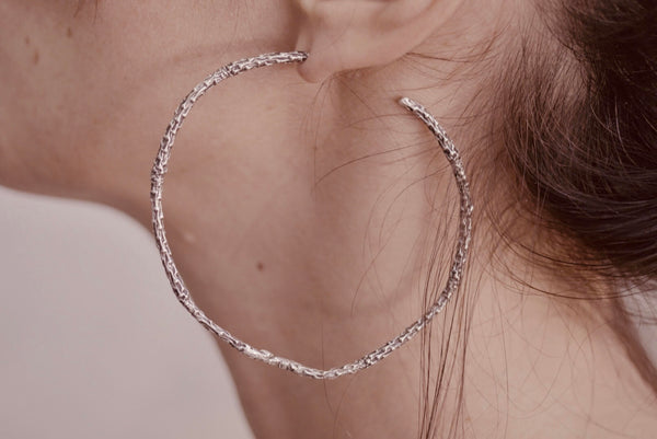 Large Silver Twig Hoops