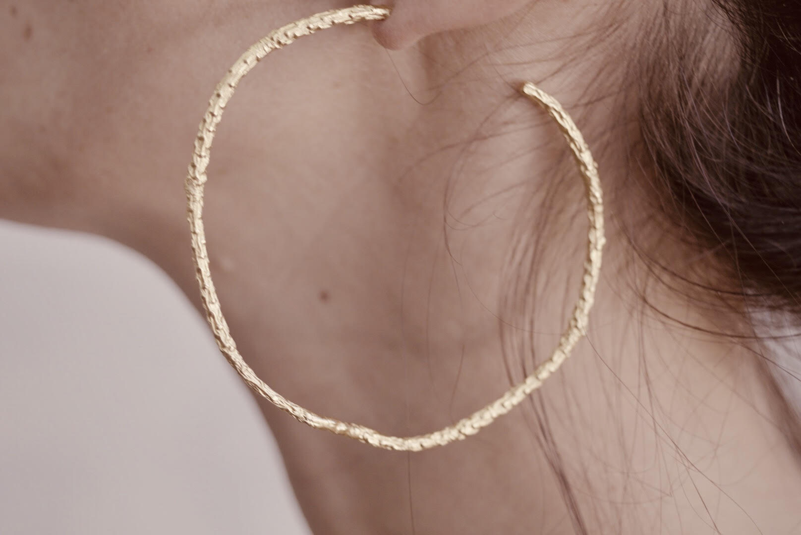 Large Gold Twig Hoops