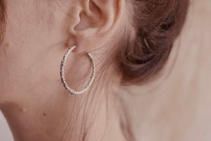 Medium Silver Twig Hoops