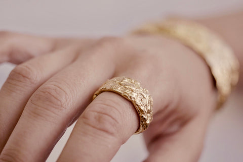 Gold Bark Ring