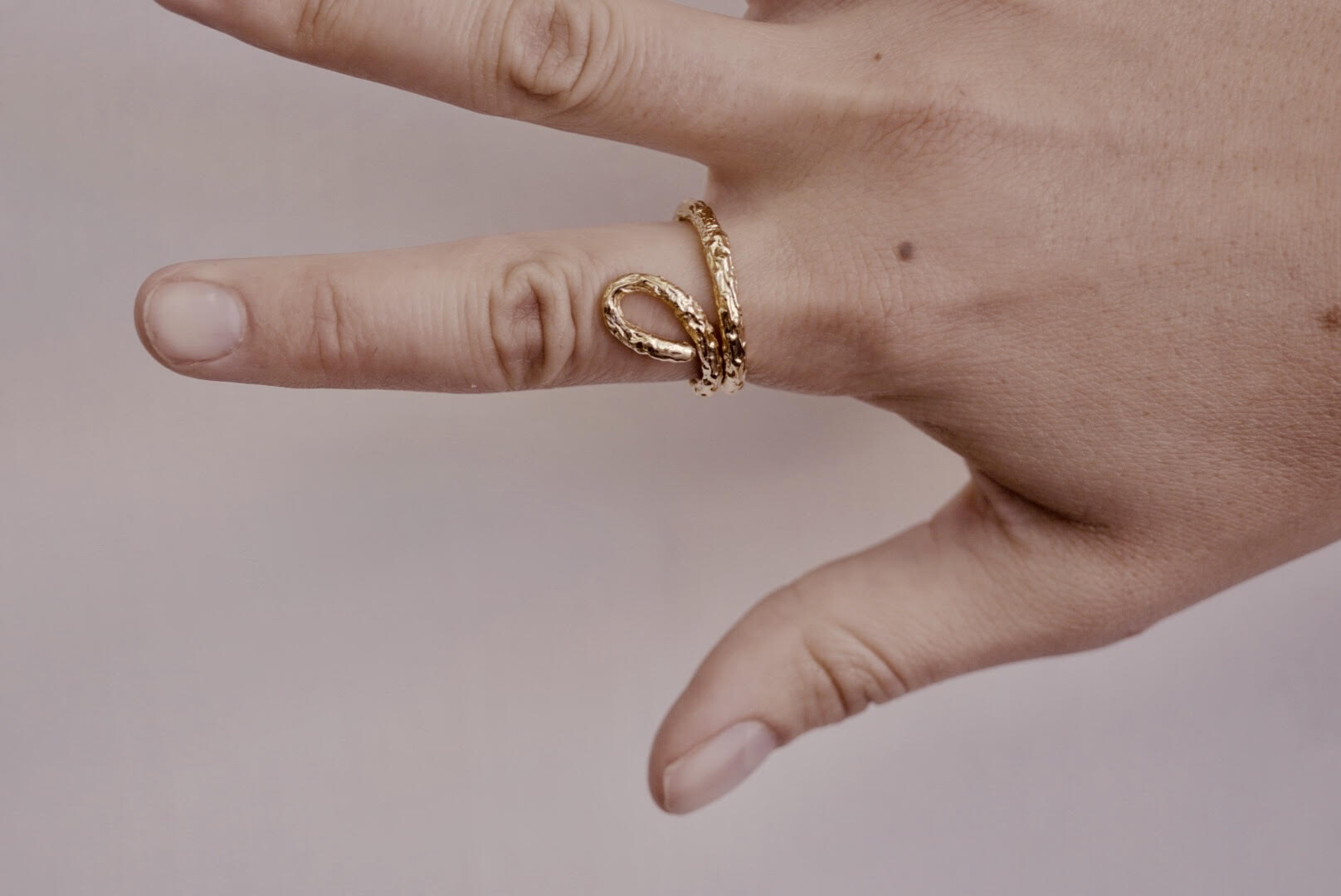 Gold Twig Eye Ring