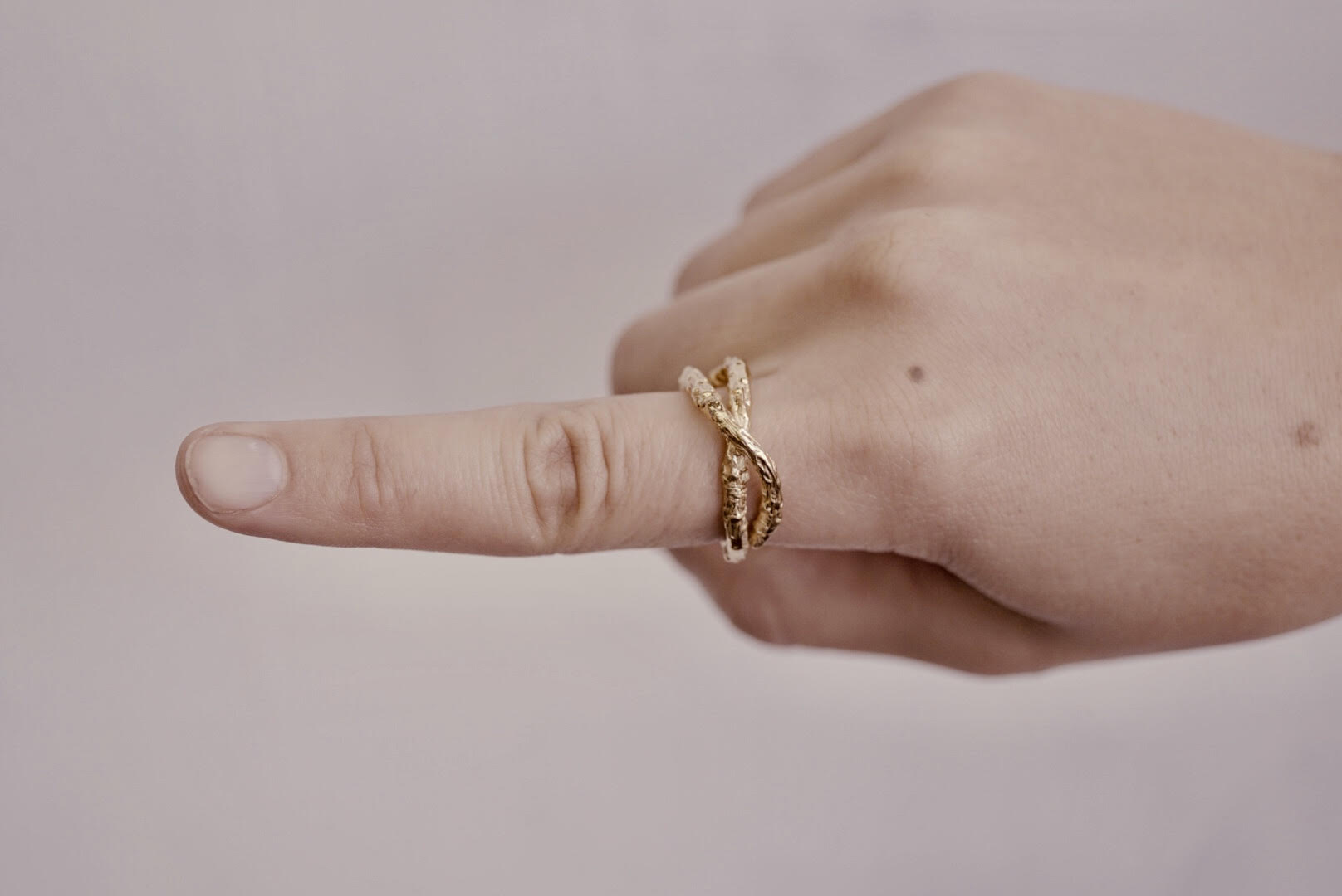Gold Twig Love Ring