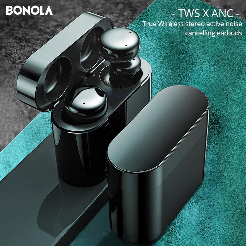 Bonola ANC Wireless Bluetooth Earphone Stereo Active Noise Canceling Earbuds TWS Touch Key Bluetooth 5.0 in-Ear Mic Line Control Magnetic Sport Music Sports wireless earphones