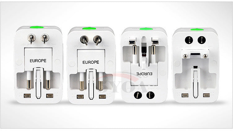 All in One Universal Worldwide Travel Wall Charger AC Power with 2 USB Charging Port for AU UK US EU Plug Adapter