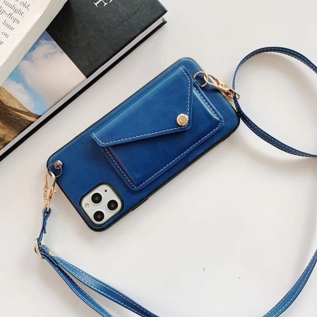 Crossbody Wallet Case for iPhone 11 XS MAX XR X 7 8 6 6S For Samsung Note 9 S10 S9 Plus with Shoulder Strap