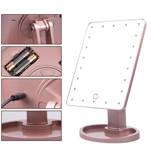 Touch Screen 22 LED Lights  Makeup Mirror with Magnifying Mirrors