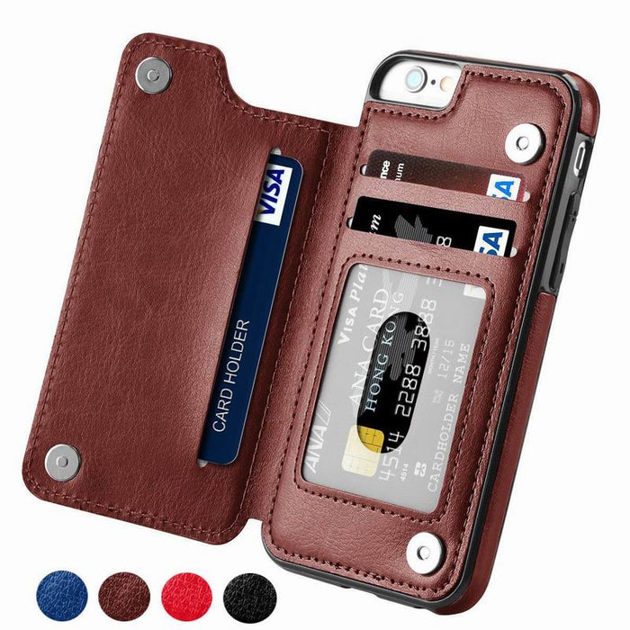 Shockproof Flip Shell Leather Cover For iPhone 11 Pro XR XS Max 6 6s 7 8 Plus 5S with Wallet Card Slots