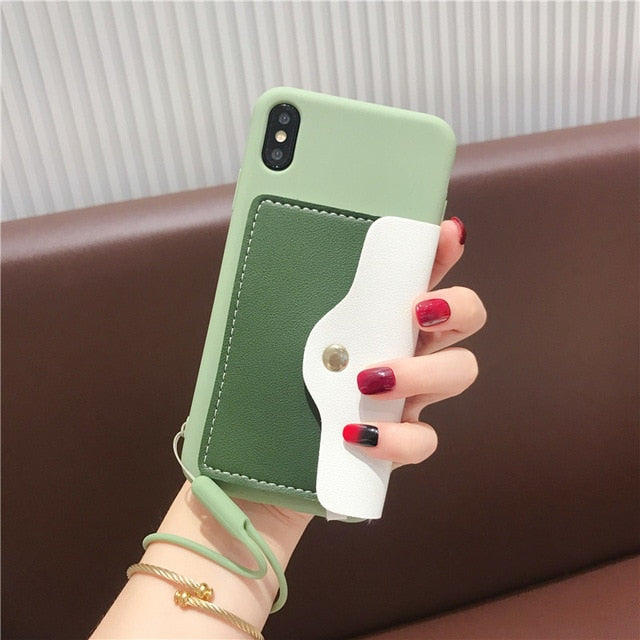 Cute Light Candy Color With Card Pocket Back Cover Cases For Huawei Nova 5 5i 4 4e 3 3i P20 P30 Mate 10 20 Pro Honor 8X 9 9X 10 20