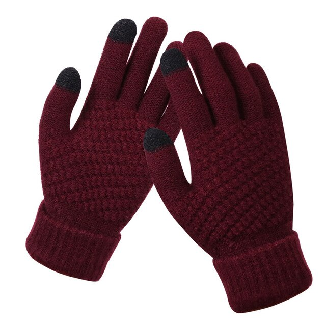 Touch Screen Winter Gloves Stretch Knit Mittens Imitation For Touch Mobile Screen