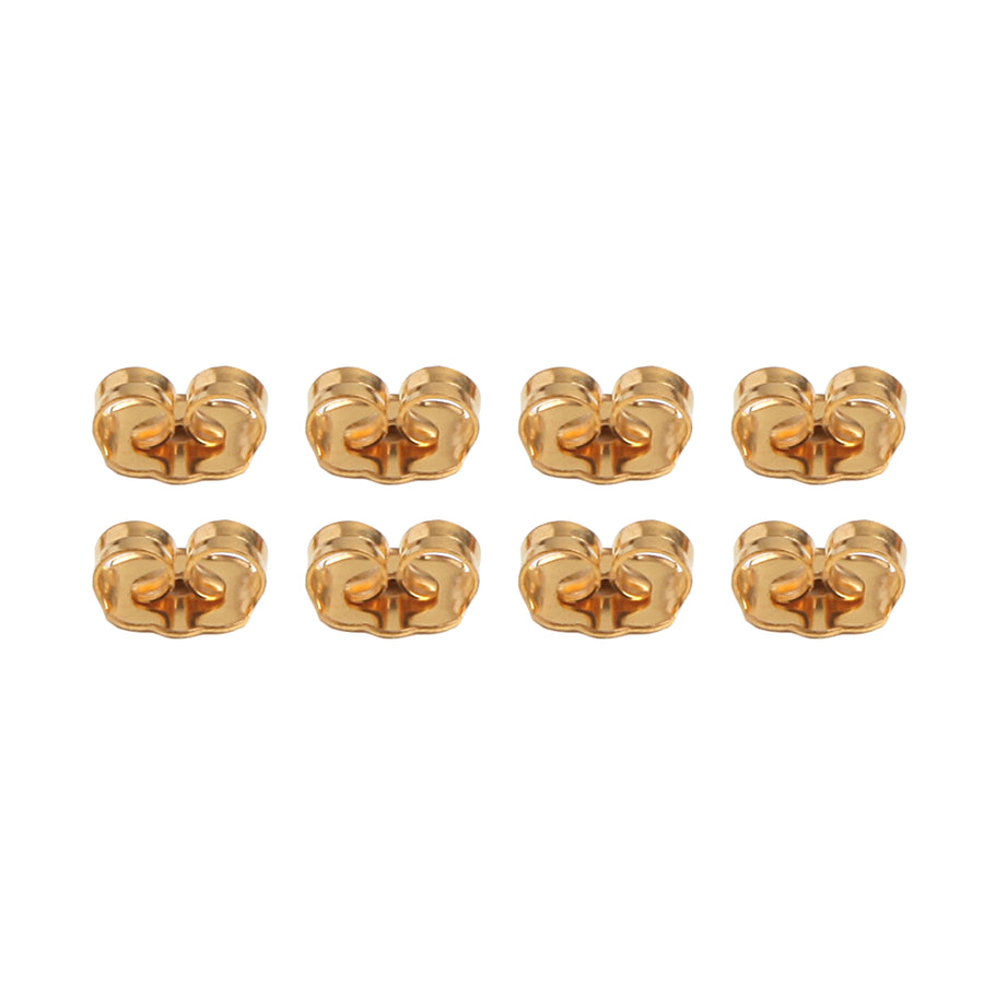 eight butterfly friction earring backs made of 22k gold plated stainless steel laid out in two rows of four for a total of eight.