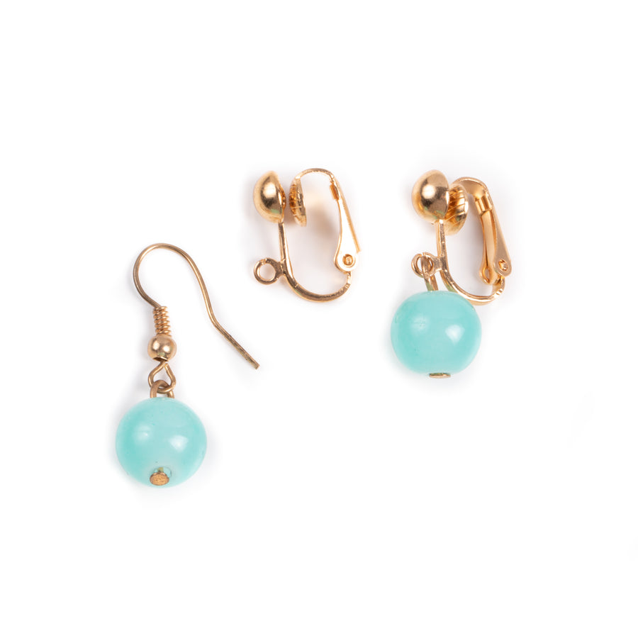 two fish hook to clip on earring converters in goldtone showing before and after using converters with turquoise dangle earrings on a white background