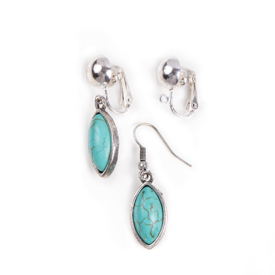 a pair of silvertone fish hook to clip on earring converters showing before and after using the converters with turquoise dangle earrings on white background