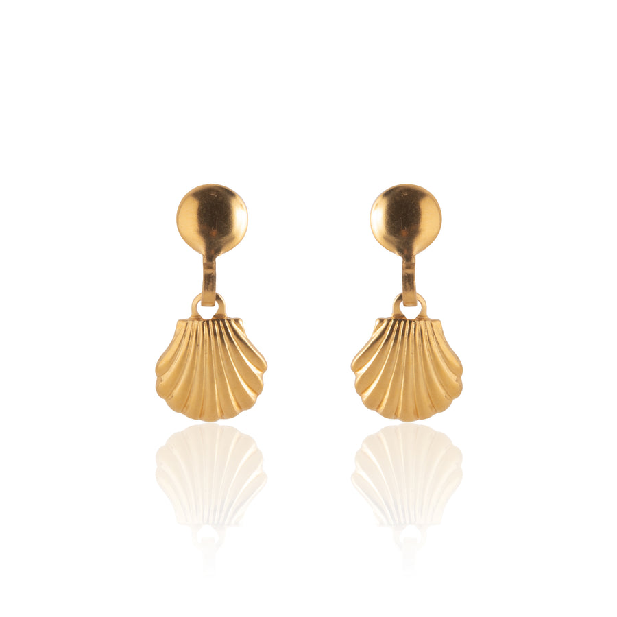 Stainless Steel Earrings | Sea Shell Drop Studs | 22k Gold Plated | 1 Pair