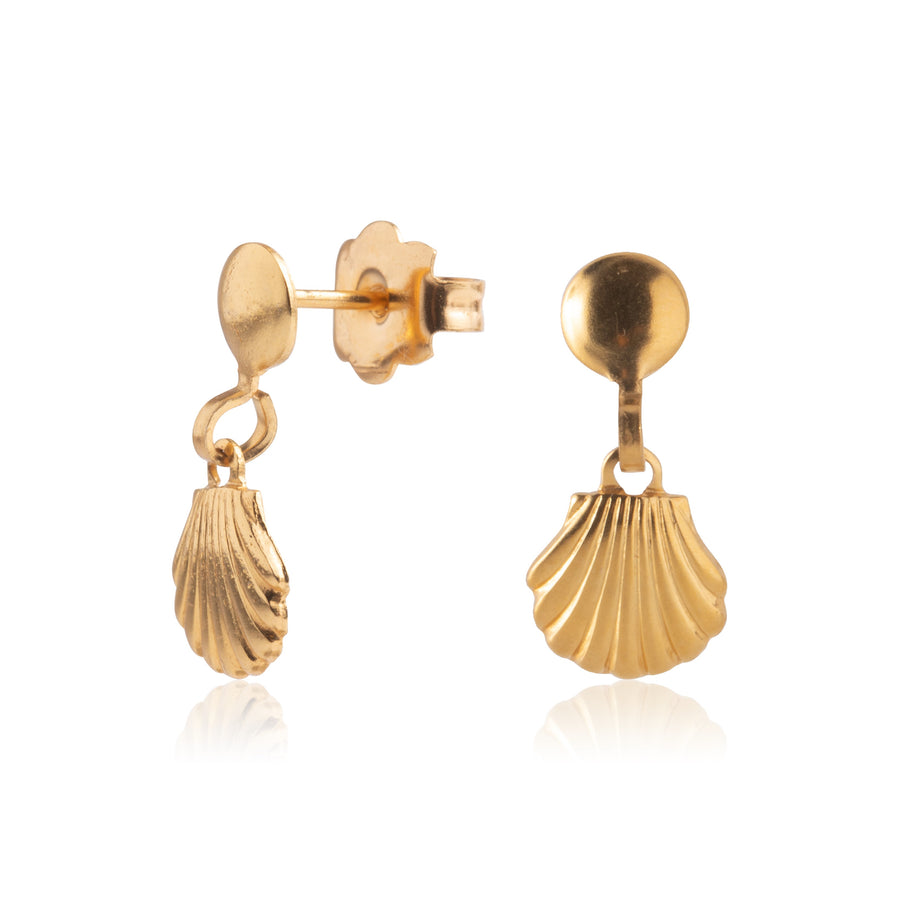 Wholesale | Stainless Steel Earrings | Sea Shell Drop Studs | 22k Gold Plated | 1 Pair