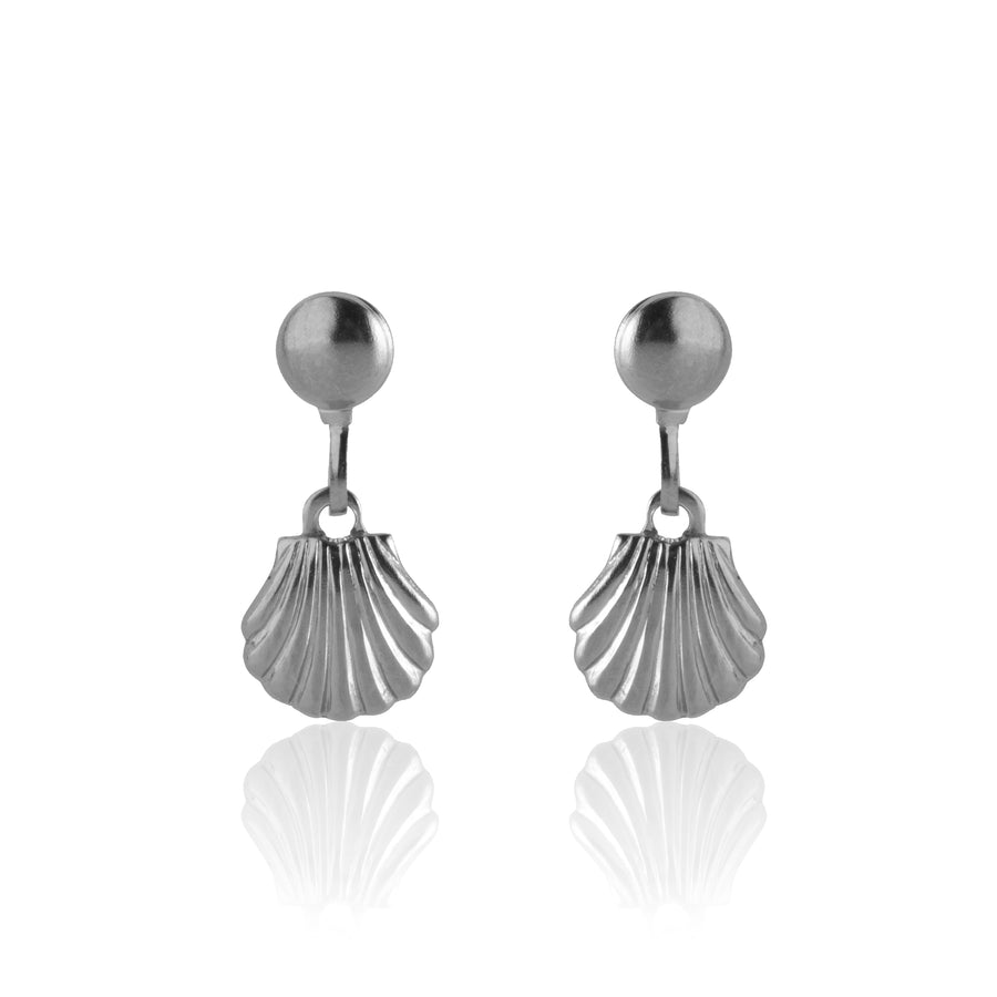 Stainless Steel Earrings | Sea Shell Drop Studs