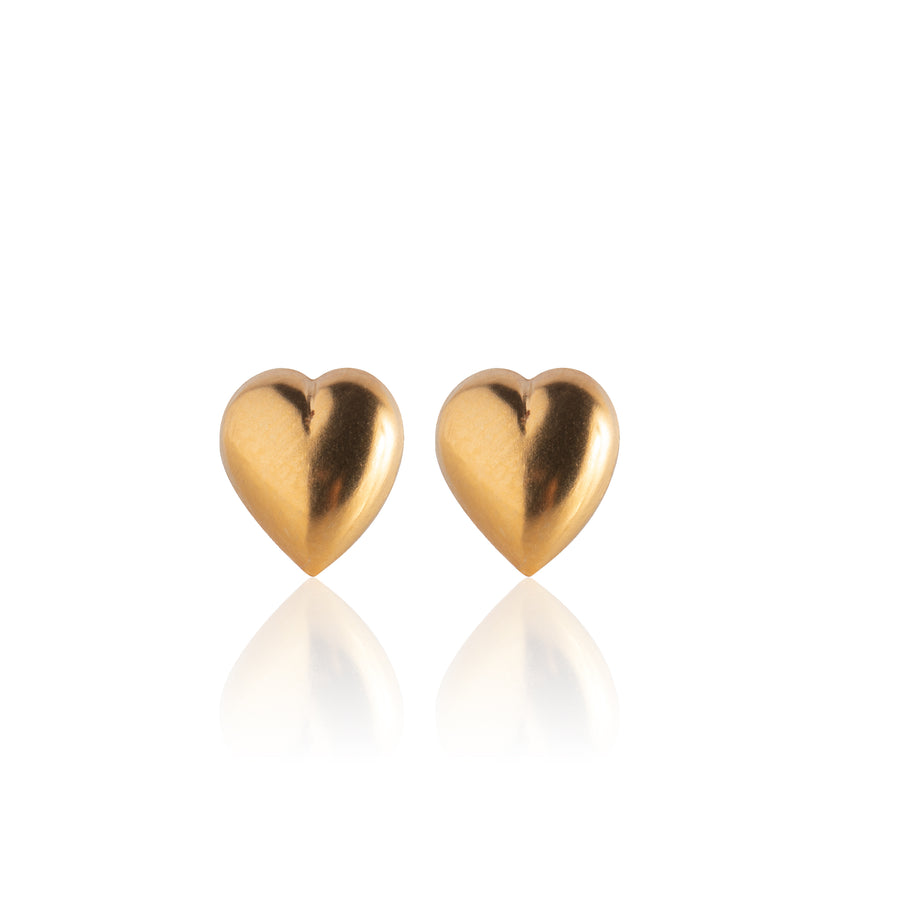 Stainless Steel Earrings | Puff Heart Studs | 22k Gold Plated