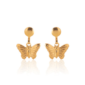 Stainless Steel Earrings | Butterfly Drop Studs | 22k Gold Plated | 1 Pair