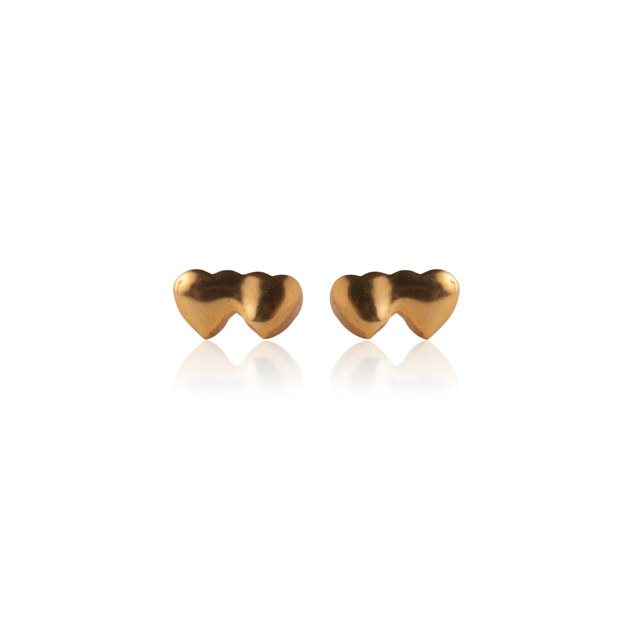 Stainless Steel Earrings | Small Double Heart Studs | 22k Gold Plated