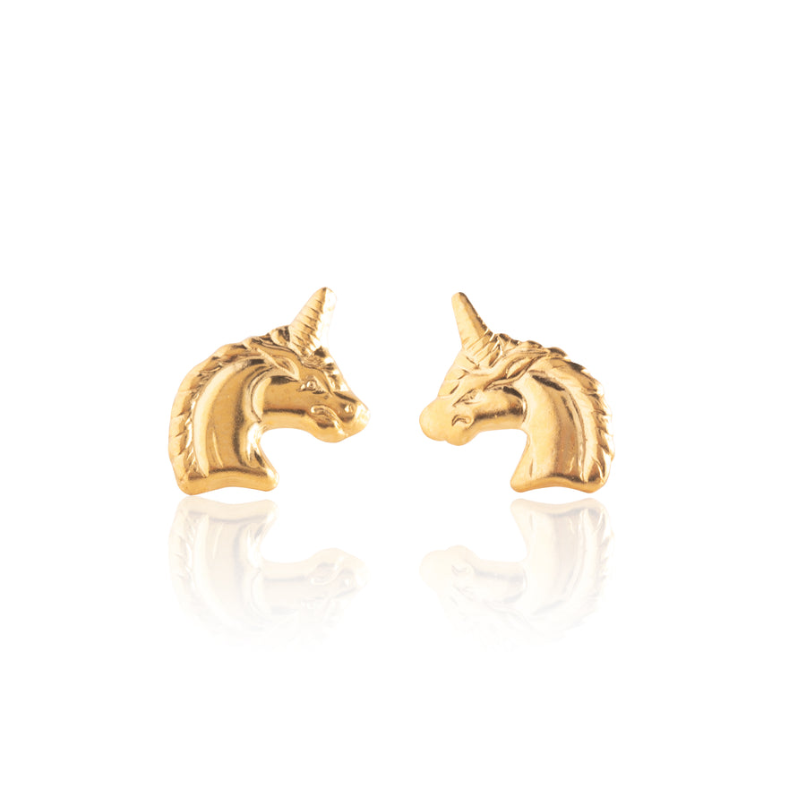 Stainless Steel Earrings | Unicorn Studs | 22k Gold Plated