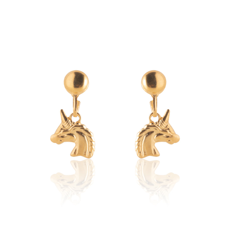 Wholesale | Stainless Steel Earrings | Unicorn Drop Studs | 22k Gold Plated | 1 Pair