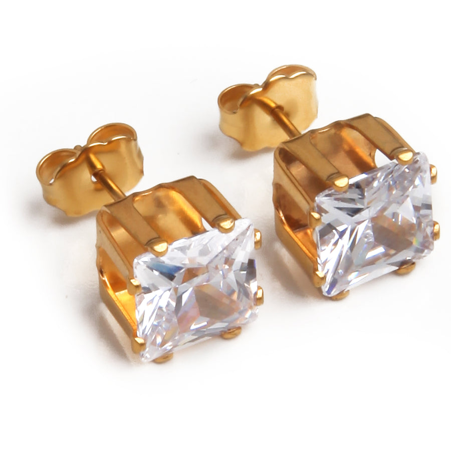 Wholesale | Cubic Zirconia Earrings | 8mm Clear Square | 22k Gold Plated Stainless Steel Posts | 1 Pair