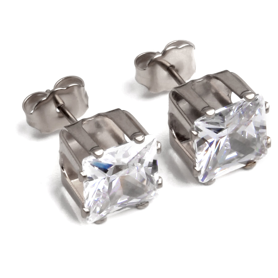 Cubic Zirconia Earrings | 8mm Clear Square | 22k Gold Plated Stainless Steel Posts