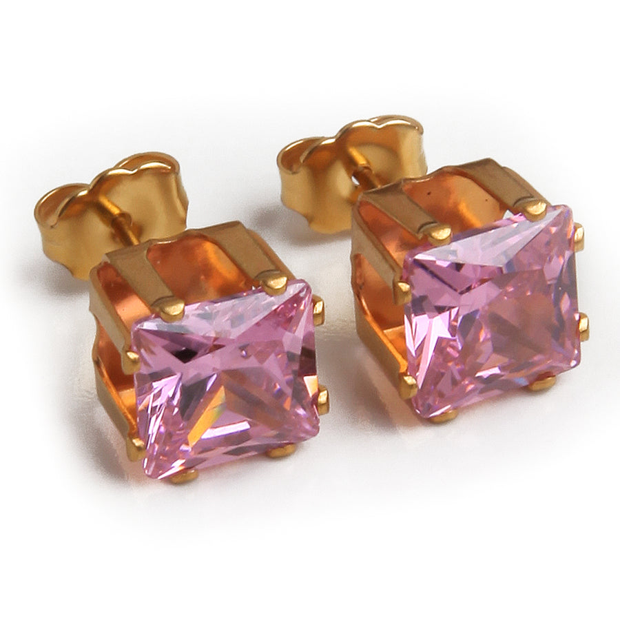 Cubic Zirconia Earrings | 8mm Pink Square | 22k Gold Plated Stainless Steel Posts
