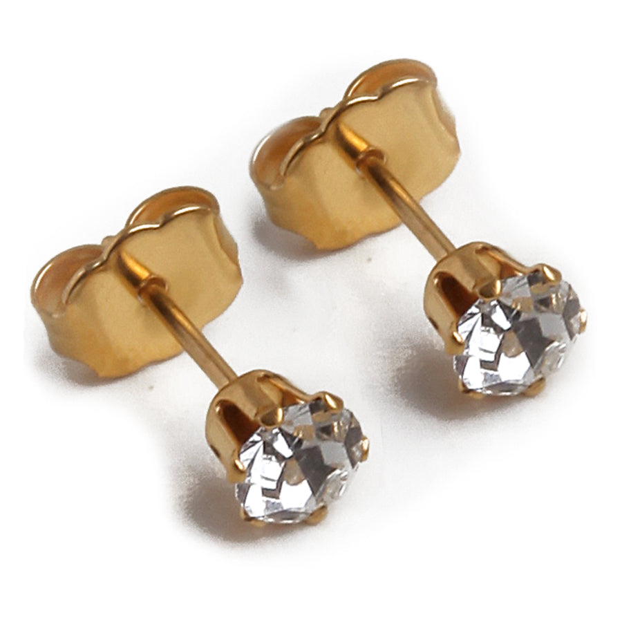 Cubic Zirconia April Birthstone Earrings | Round Shape | Diamond Color | 22k Gold Plated Stainless Steel Posts | 2 Pairs