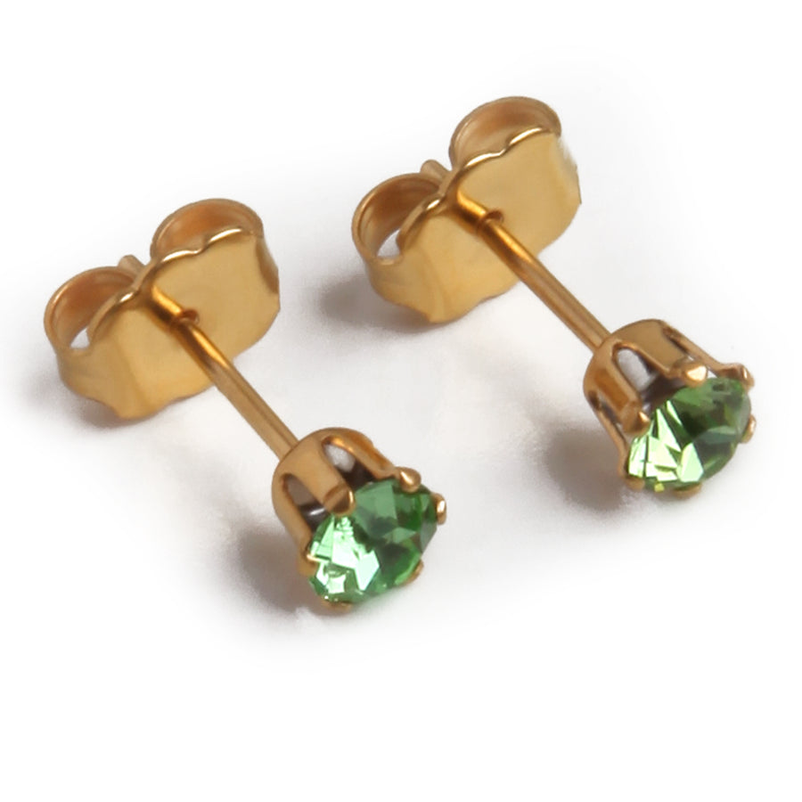 Cubic Zirconia August Birthstone Earrings | 4mm Round | Peridot | 22k Gold Plated Stainless Steel Posts | 1 Pair