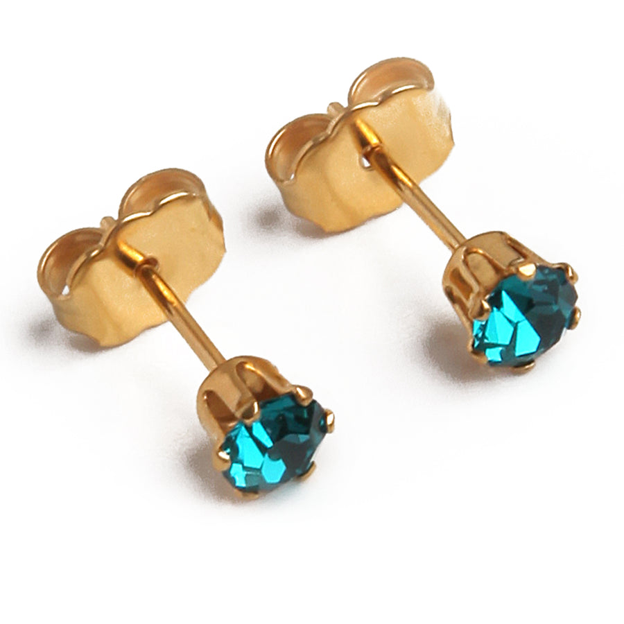 Wholesale | Cubic Zirconia December Birthstone Earrings | 4mm Round | Blue Topaz | 22k Gold Plated Stainless Steel Posts | 1 Pair