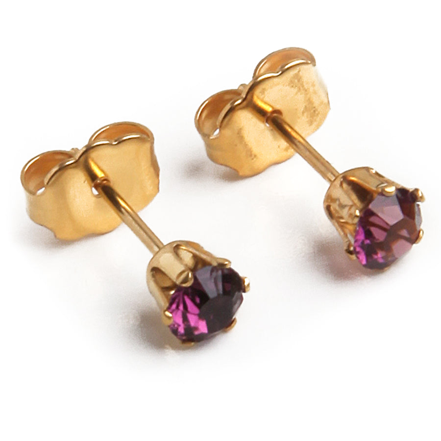 Wholesale | Cubic Zirconia February Birthstone Earrings | 5mm Round | Purple Amethyst | 22k Gold Plated Stainless Steel Posts | 1 Pair