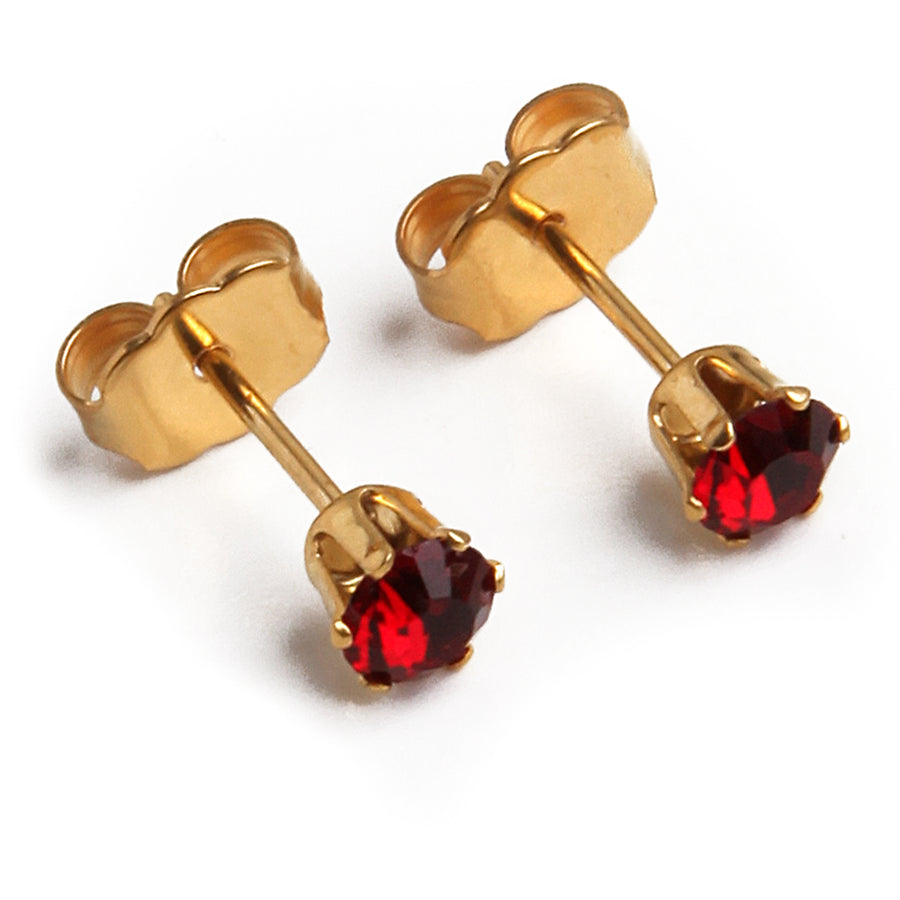 Cubic Zirconia July Birthstone Earrings | Round Shape | Ruby | 22k Gold Plated Stainless Steel Posts | 2 Pairs
