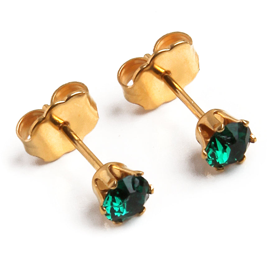 Cubic Zirconia May Birthstone Earrings | Round Shape | Emerald | 22k Gold Plated Stainless Steel Posts | 2 Pairs