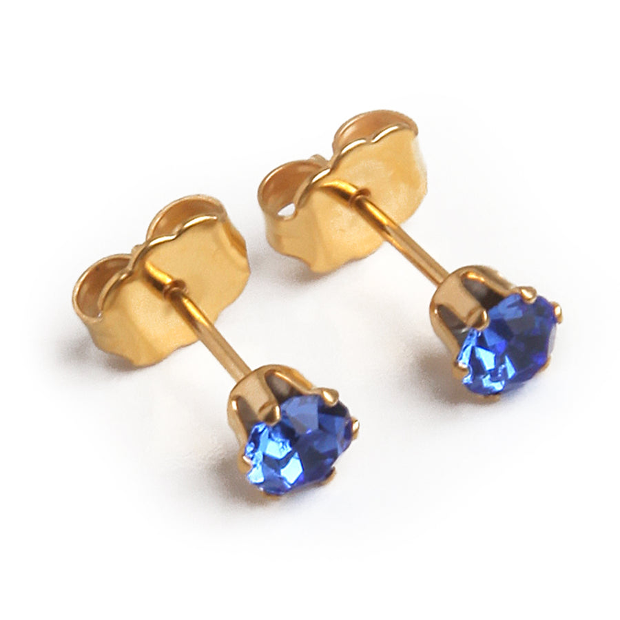 Cubic Zirconia September Birthstone Earrings | 4mm Round | 22k Gold Plated Stainless Steel Posts | 1 Pair