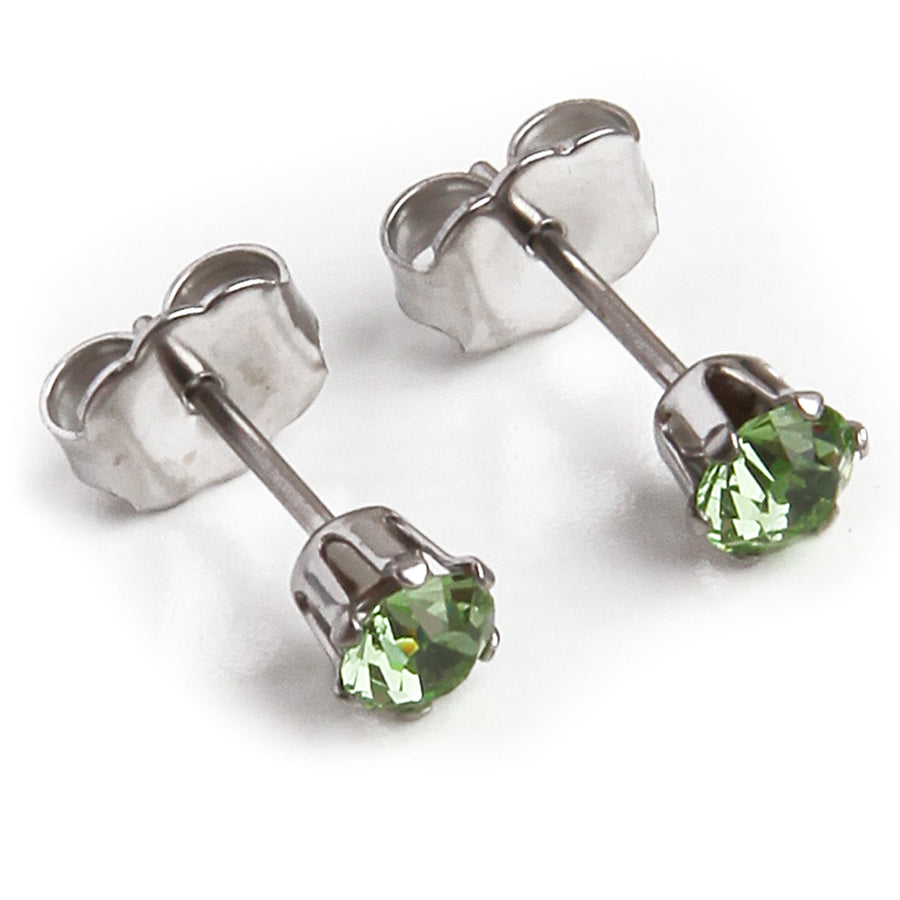 Cubic Zirconia August Birthstone Earrings | 4mm Round | Peridot | Stainless Steel Posts | 2 Pairs