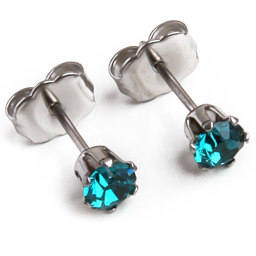 Cubic Zirconia December Birthstone Earrings | 4mm Round | Blue Topaz | Stainless Steel Posts | 2 Pairs