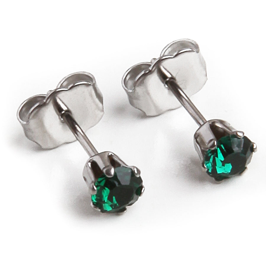 Cubic Zirconia May Birthstone Earrings | 4mm Round | Emerald | Stainless Steel Posts | 2 Pairs