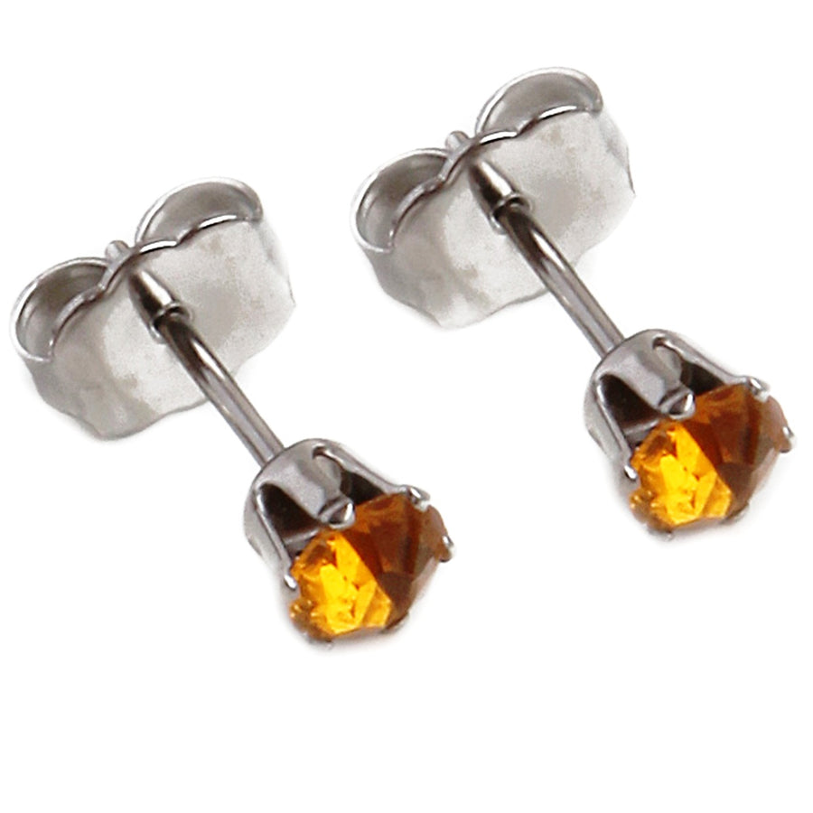 Wholesale | Cubic Zirconia November Birthstone Earrings | 4mm Round | Topaz | Stainless Steel Posts | 1 Pair