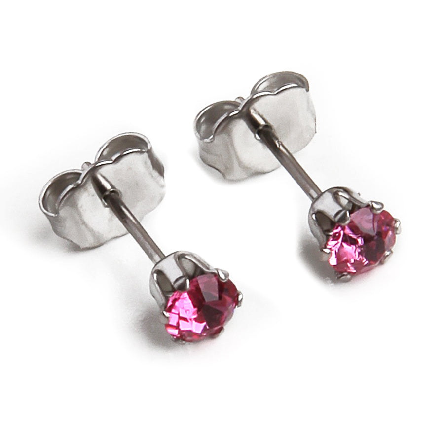 Wholesale | Cubic Zirconia October Birthstone Earrings | 4mm Round | Pink Tourmaline | Stainless Steel Posts | 1 Pair