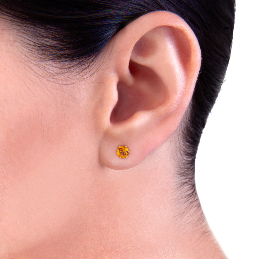 Cubic Zirconia Birthstone Earrings | 4mm Round | 22k Gold Plated Stainless Steel Posts